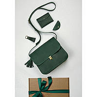 Подарочный набор кожаный женский зеленый (сумка, кошелек, брелок, открытка) ручная работа