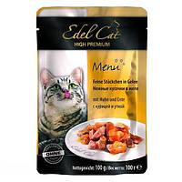 Консервы Edel Cat для кошек нежные кусочки в желе, курица и утка, 100 г