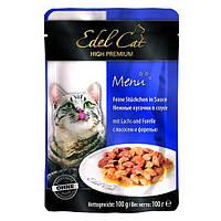 Консервы Edel Cat для кошек нежные кусочки в соусе, лосось и форель, 100 г