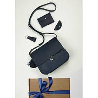 Подарочный набор кожаный женский синий (сумка, кошелек, брелок, открытка) ручная работа