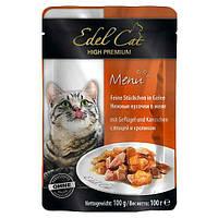 Консервы Edel Cat для кошек нежные кусочки в желе, птица и кролик, 100 г
