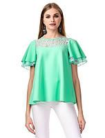 Блуза с кружевом. ментол