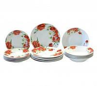 Набор столовой посуды Красные маки 18 предметов Оселя, 21-206-104