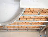 Монтаж прямых понижений потолков из гипсокартона