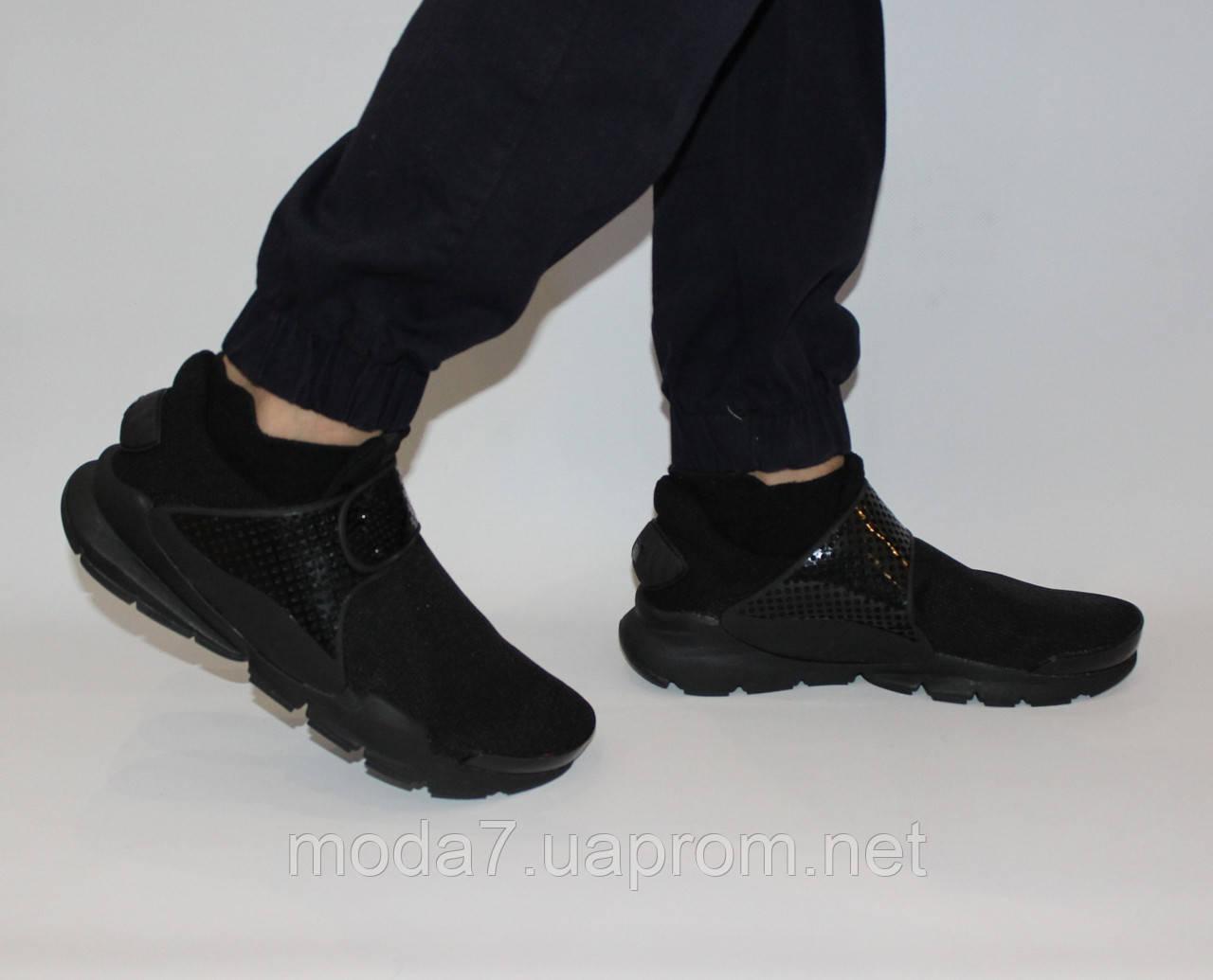 Кроссовки мужские черные Nike sock dart сетка реплика