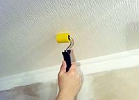 Поклейка обоев на потолок без подбора рисунка под покраску