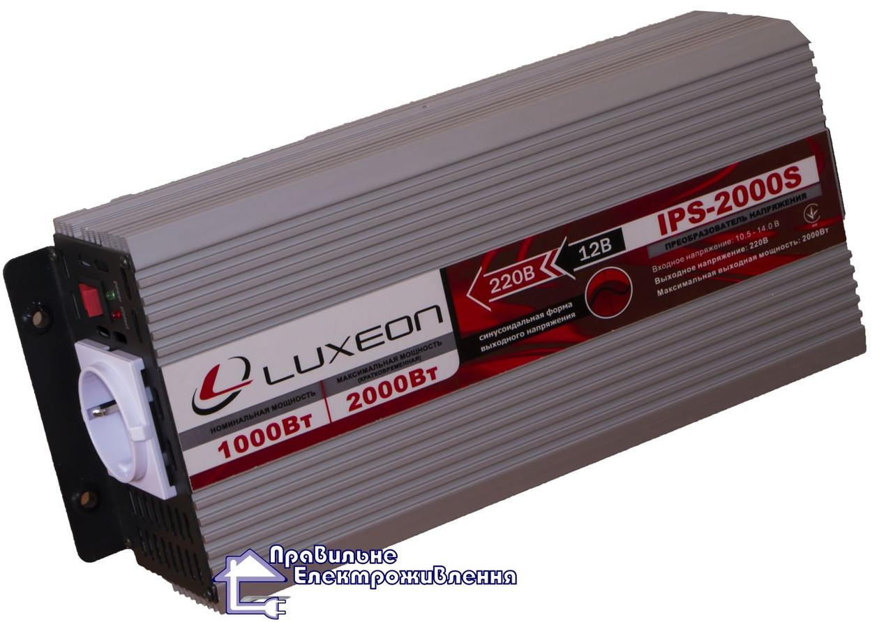 Інвертор напруги 12 220В Luxeon IPS-2000S чиста синусоїда