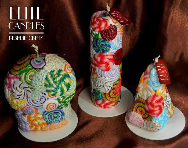 Три свечи формы шара, столбика, пирамиды. Дизайнерские оригинальные.