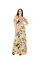 Женское длинное платье крестьянка  с цветами