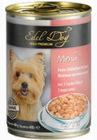 Консервы Edel Dog для собак нежные кусочки в соусе, 3 вида мяса, 400 г