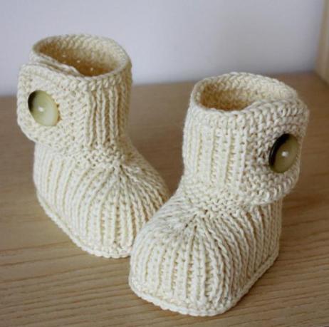 Стильные вязаные пинетки-ботиночки для новорожденных - Интернет-магазин