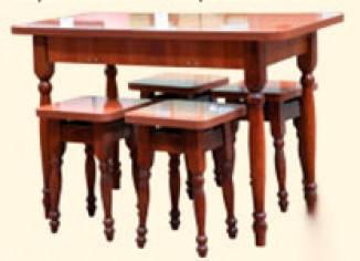 Стол кухонный раздвижной + 4 табуретки (28 мм). Мебель Сервис