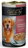 Консервы Edel Dog для собак нежные кусочки в соусе, 3 вида мяса, 1.2 кг