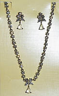 Набор (серьги, колье) бел. металл, белые стразы 1_22_24