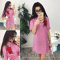 Хлопковое платье с вышивкой в расцветках