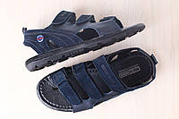 Мужские кожаные босоножки, темно-синие, на липучках, с вставками из нубука