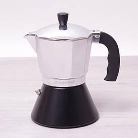 Кофеварка гейзерная Kamille 300мл из алюминия с широким индукционным дном