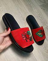 Шлепанцы женские с вышивкой кожа/замша цвет: красный, черный Ko0036