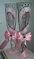 """Свадебные бокалы """"Розовое сердце"""""""