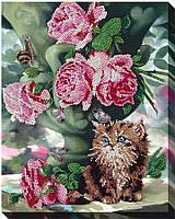 """Набор для вышивки бисером """"Котенок и цветы"""""""