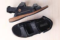 Мужские кожаные босоножки, черного цвета, на липучках, с вставками из нубука