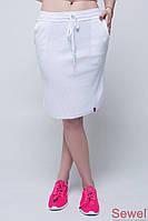 Женская вязаная белая юбка