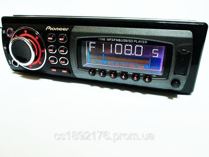 Автомагнитола Pioneer 1168 - USB+SD+AUX+FM (4x50W)