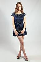Платье гипюровое мини летнее синее Mela Loves London
