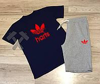 Спортивный костюм летний комплект мужской шорты и футболка Adidas Адидас