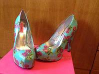 Туфли бирюзовые в розовые розы Betsey Johns р.38,5-39, фото 1