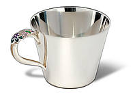 Чашка серебряная для чая матовая с эмалью