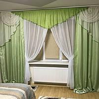 Готовый комплект шторы + ламбрекен + тюль  №305 салатовый