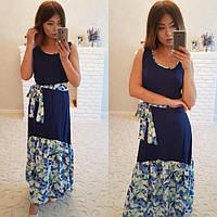 Женское длинное платье оборка в цветочек фенси шифон, цвет пудра,салатовый, электрик,темно/синий. ДГАТ4022