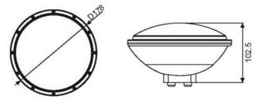 Габаритные размеры светодиодной лампы AquaViva PAR56–252LED