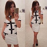Женское модное платье  цвет белый и черный ДГат4007