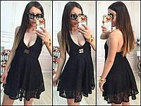 Гипюровое черное платье 382 НикНик