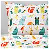 IKEA LATTJO Комплект постельного белья, Животные, разноцветные  (203.510.06)