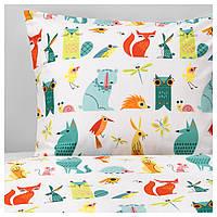 IKEA LATTJO Комплект постельного белья, Животные, разноцветные  (203.510.06), фото 1