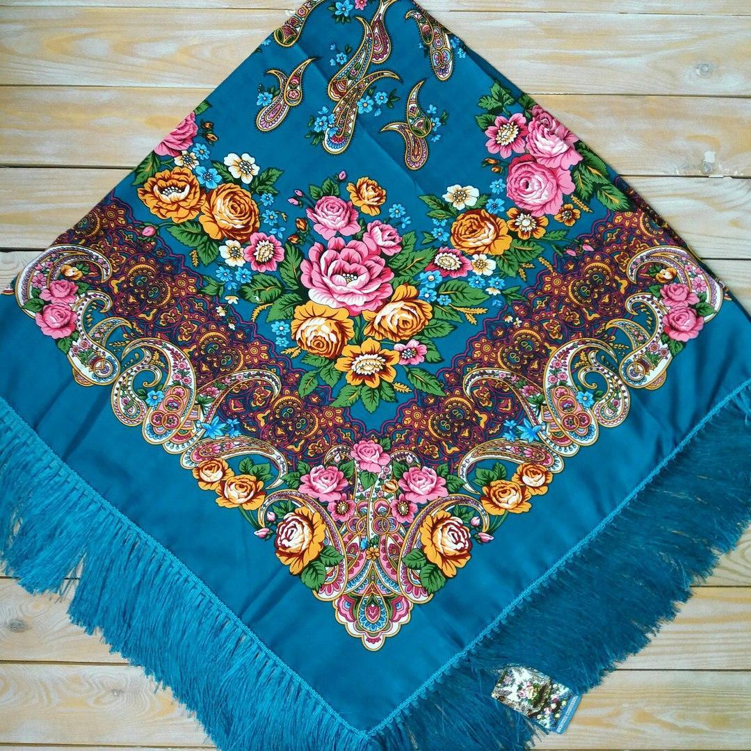 Яркий платок для девушек (135х135см, бирюзовый, 80%-шерсть)