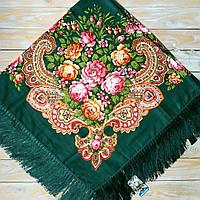 Красивый платок для девушек (135х135см, зелёный, 80%-шерсть)  , фото 1