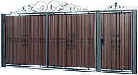 Кованые ворота и калитка  В-01 c ПРОФНАСТИЛОМ