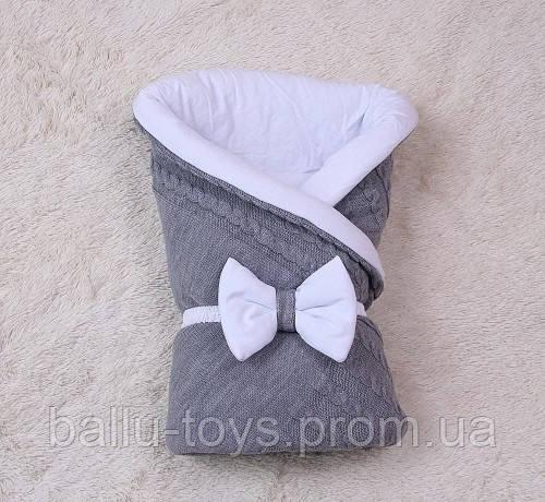 Вязаный конверт на выписку для новорожденных Глория (серый)