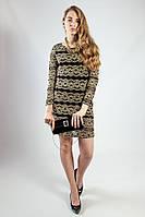 Платье женское вечернее мини гипюр. длинный рукав