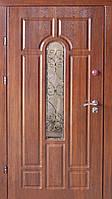 Классическая бронированная дверь со стеклом и ковкой, модель «Звезда»