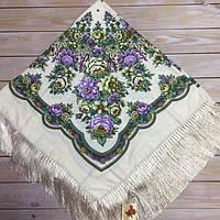 Модный платок для девушки (110х110см, 80%-шерсть, бежевый)