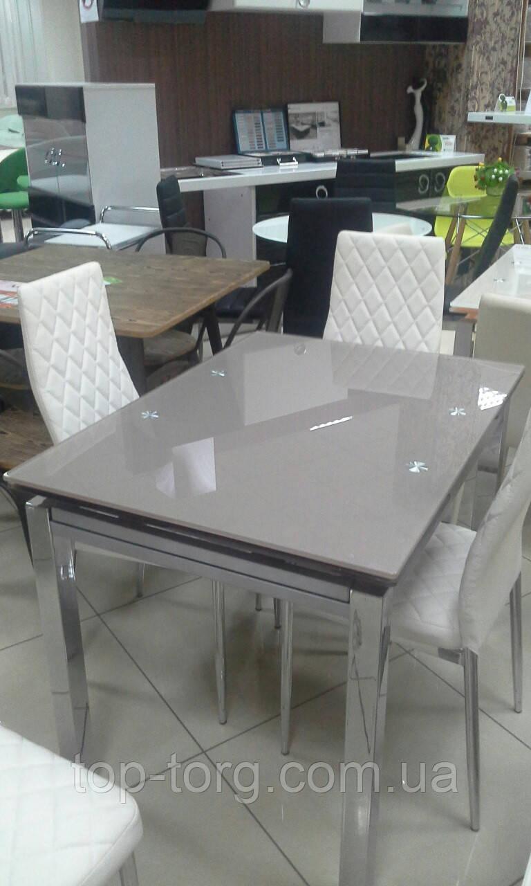 Стол стеклянный ТВ014 кофе с молоком 960(+2вставки по 30)х700мм раскладной, без узоров