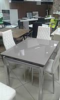 Стол стеклянный ТВ014 серый 960(+2вставки по 30)х700мм раскладной, без узоров