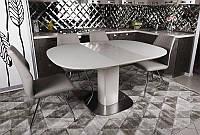 Современный обеденный раскладной стол Бостон (Boston), цвет капучино, столешница МДФ, каленое стекло