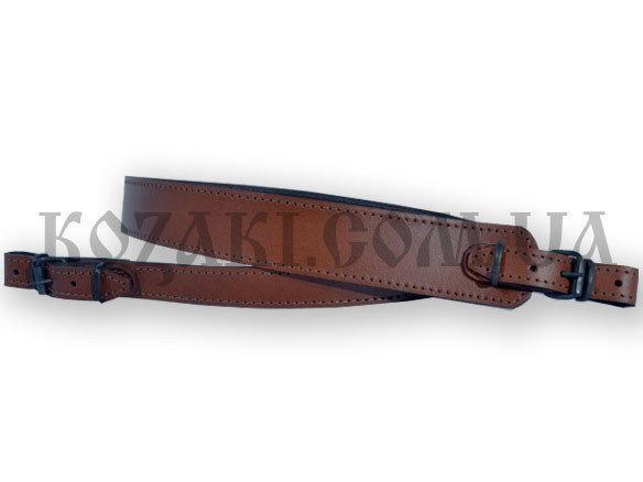 Ремень ружейный трапеция коричневый (кожа-спилок)