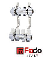 """Коллекторный блок с запорными клапанами 1""""х3/4"""" на 10 выходов FADO Италия"""